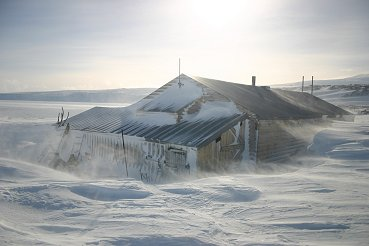 The outside of the hut at Cape Evans
